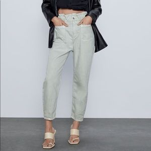 Zara Baggy Paperbag Jeans Green Trouser